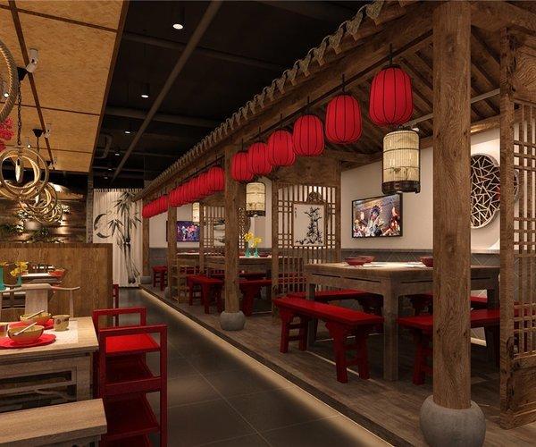 天津寬窄巷子火鍋店設計